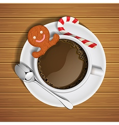 gingerbread in cup of hot chocolate and sugar cane vector image vector image