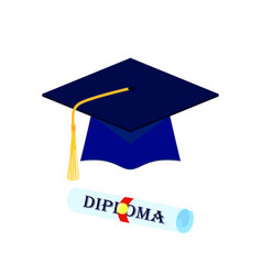 Graduation cap and rolled diploma scroll with vector
