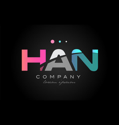 han h a n three letter logo icon design vector image vector image