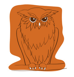 hand drawn owl sitting on branch ethnic vector image