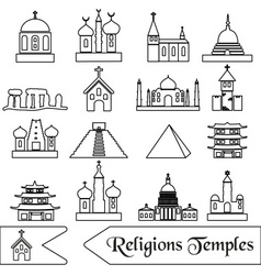 World religions types of temples outline icons vector