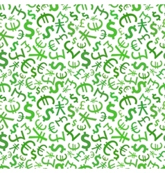Green signs of world currencies on white seamless vector image