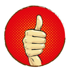 hand with big finger up pop art comics vector image