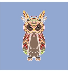Owl Wearing Tribal Clothing vector image