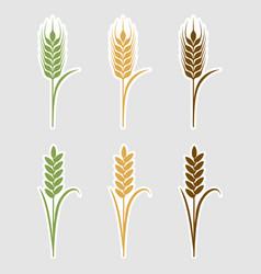 Paper art cut stickers ears of wheat vector