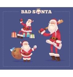 Set of the bad Santa Christmas greeting card vector image vector image
