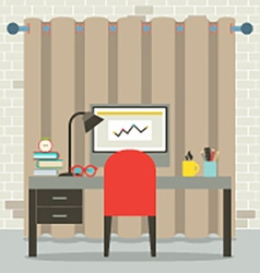 Empty Workplace Flat Design vector image