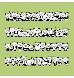 Funny panda family for your design vector image vector image