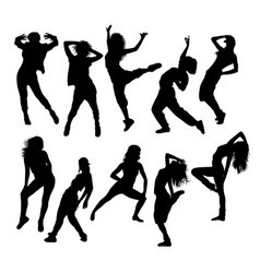 hip hop dancing silhouettes vector image vector image