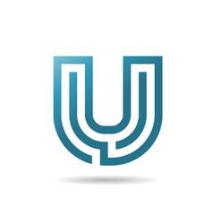 letter u logo design vector image