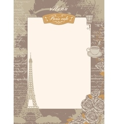 menu list with Eiffel Tower and roses vector image vector image