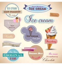 Set of vintage ice cream shop badges and labels vector image