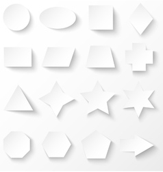 Set of white basic geometric shapes with shadow vector