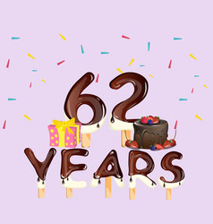62 years happy birthday card vector image