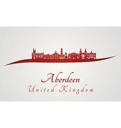 Aberdeen skyline in red vector image