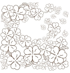 Adult coloring book page Four leaf clovers Hand vector image