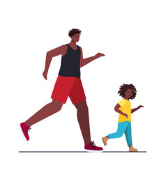 African american father running with little son vector