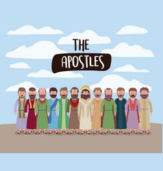 Apostles and jesus in daily scene in desert in vector