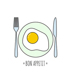 appetizing cooked fried egg vector image