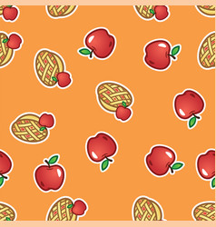 apple pie pattern background sweet and tasty vector image