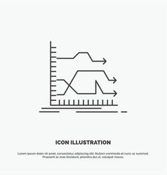 Arrows forward graph market prediction icon line vector