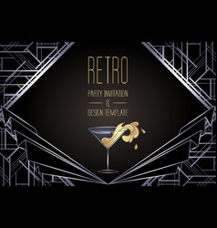 Art deco vintage gold and silver design element vector