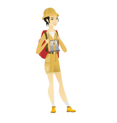Asian traveler woman with backpack and binoculars vector