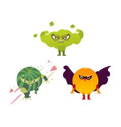 athlete broccoli ninja watermelon hero orange vector image