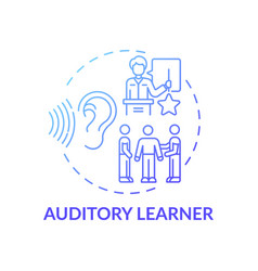 Auditory learner blue gradient concept icon vector