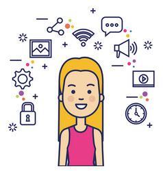 Avatar woman with social media marketing vector