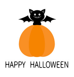 bat sitting on big pumpkin happy halloween cute vector image