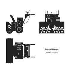 black silhouette snow blower top side front vector image