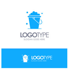 Bucket cleaning floor home blue solid logo with vector