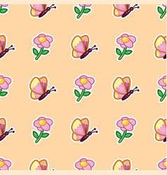butterfly and flowering wild flower on pattern vector image