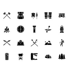 Camping icon collection solid style vector