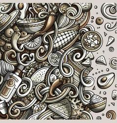 cartoon cute doodles hand drawn mexican food frame vector image