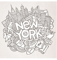 Cartoon cute doodles hand drawn new york vector