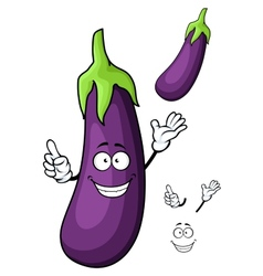 Cartoon glossy violet eggplant vegetable character vector