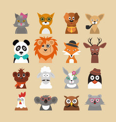 cartoon hipster animals characters icon set vector image
