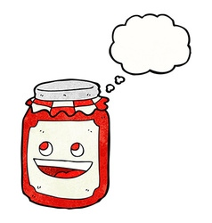 Cartoon jar of preserve with thought bubble vector