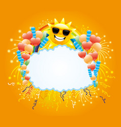 cheerful sun with a rainbow and balloons vector image