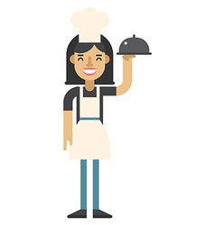 Chef woman in pink apron and cook hat with a dish vector