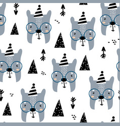 childish seamless pattern with cute bear faces vector image