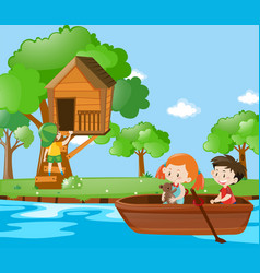 Children rowing boat in the park vector