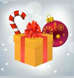 christmas candy giftbox and ball vector image