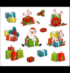 Christmas gifts present boxes and santa claus vector