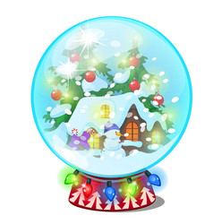christmas souvenir in form house in a glass vector image