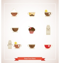 Colorful retro hipsters icons of coffee tea milk vector