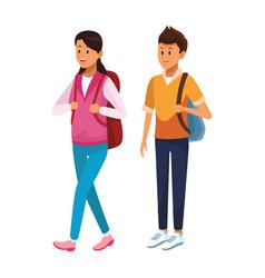 couple student avatars vector image