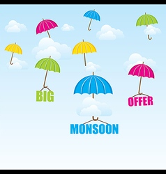 Creative big monsoon offer poster or banner design vector